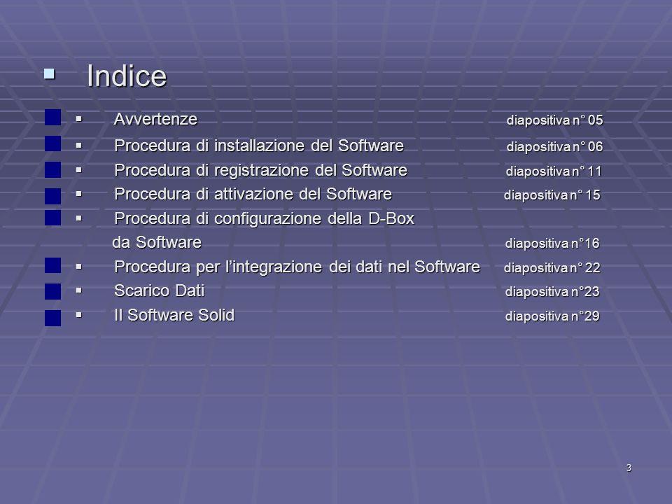 3 Indice Indice Avvertenze diapositiva n° 05 Avvertenze diapositiva n° 05 Procedura di installazione del Software diapositiva n° 06 Procedura di insta