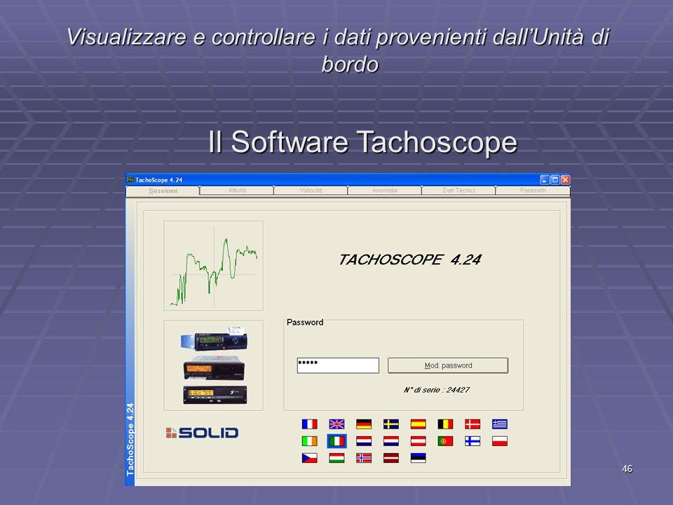 46 Visualizzare e controllare i dati provenienti dallUnità di bordo Il Software Tachoscope