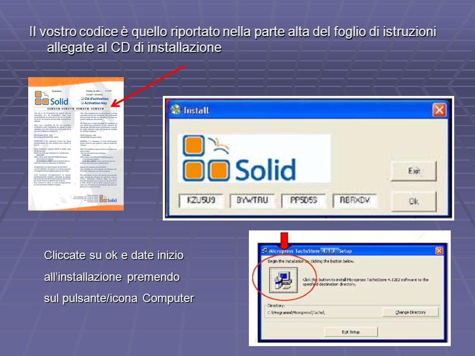 7 Il vostro codice è quello riportato nella parte alta del foglio di istruzioni allegate al CD di installazione Cliccate su ok e date inizio allinstal