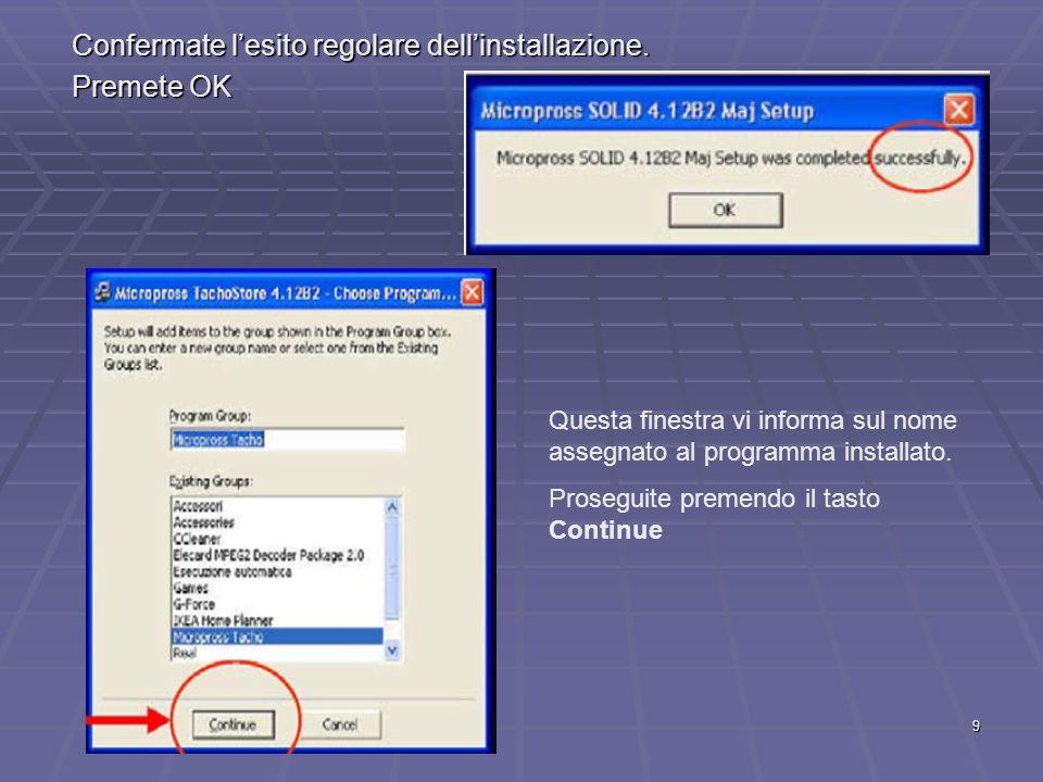 10 Terminata linstallazione, selezionate Start, quindi Tutti i programmi ed individuate il SW allinterno dellelenco dei programmi presenti nel vostro PC, ricordando che i nomi delle directory sono : MICROPROSS SOLID32 MICROPROSS SOLID32 MICROPROSS TACHO MICROPROSS TACHO Per aprire agevolmente il Software, posizionate le relative icone sul desktop del vostro PC : selezionate licona con il tasto destro del mouse, scegliete lopzione invia a e quindi Desktop (crea collegamento) con il tasto sinistro.