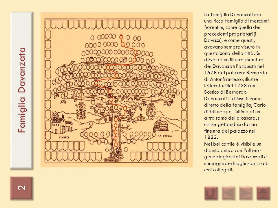 La famiglia Davanzati era una ricca famiglia di mercanti fiorentini, come quella dei precedenti proprietari (i Davizzi), e come questi, avevano sempre