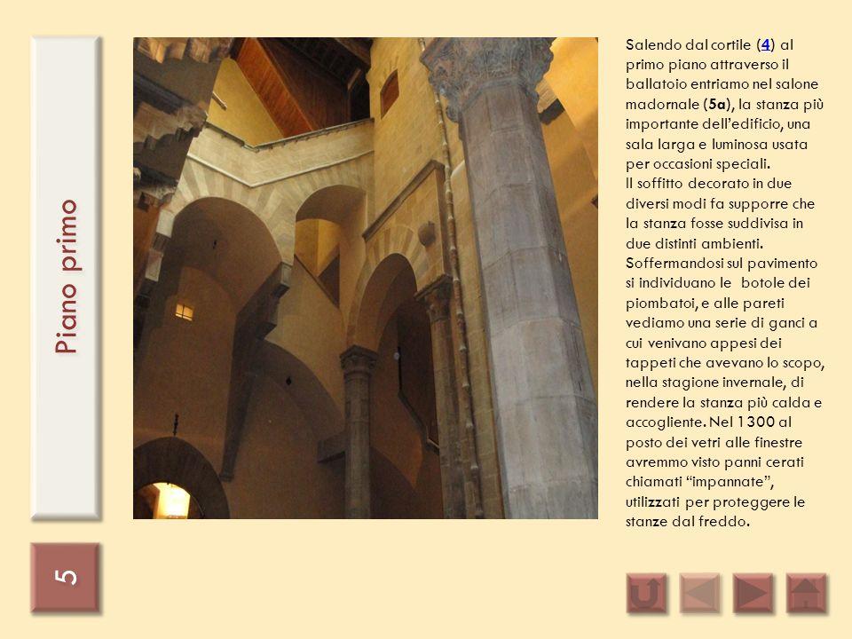 5 5 Piano primo Salendo dal cortile (4) al primo piano attraverso il ballatoio entriamo nel salone madornale (5a), la stanza più importante delledific