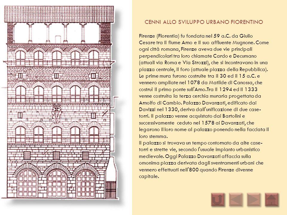 CENNI ALLO SVILUPPO URBANO FIORENTINO Firenze (Florentia) fu fondata nel 59 a.C. da Giulio Cesare tra il fiume Arno e il suo affluente Mugnone. Come o