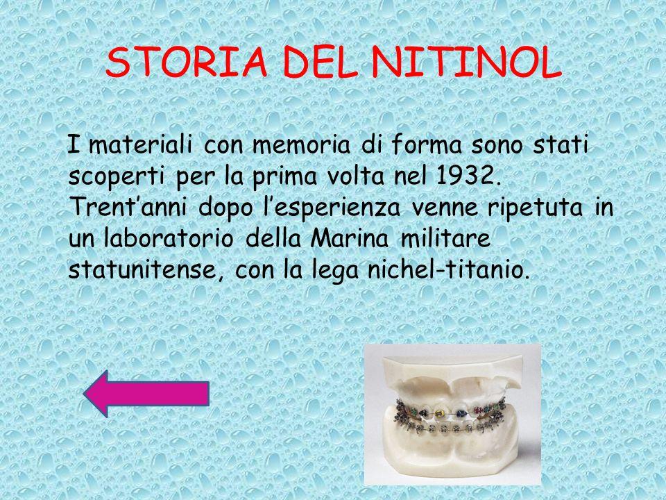 STORIA DEL NITINOL I materiali con memoria di forma sono stati scoperti per la prima volta nel 1932. Trentanni dopo lesperienza venne ripetuta in un l