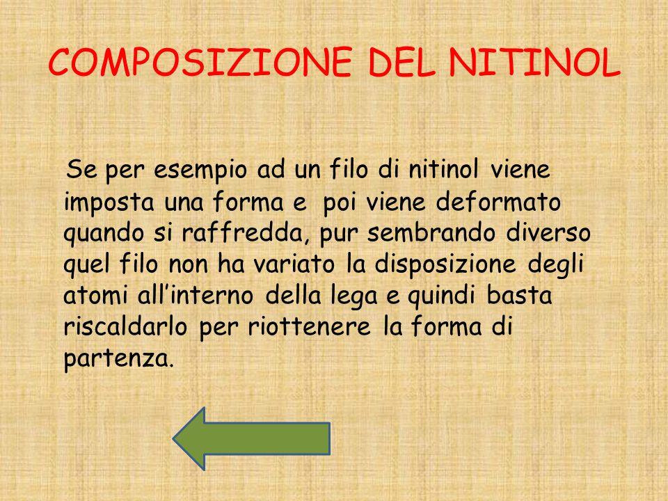 COMPOSIZIONE DEL NITINOL Se per esempio ad un filo di nitinol viene imposta una forma e poi viene deformato quando si raffredda, pur sembrando diverso