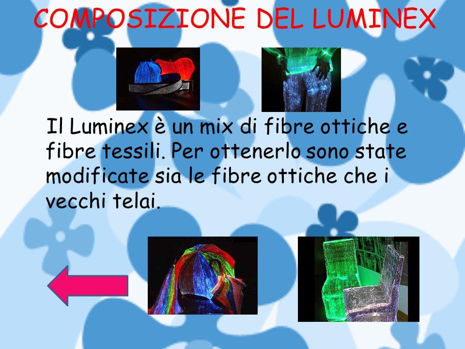 COMPOSIZIONE DEL LUMINEX Il Luminex è un mix di fibre ottiche e fibre tessili. Per ottenerlo sono state modificate sia le fibre ottiche che i vecchi t