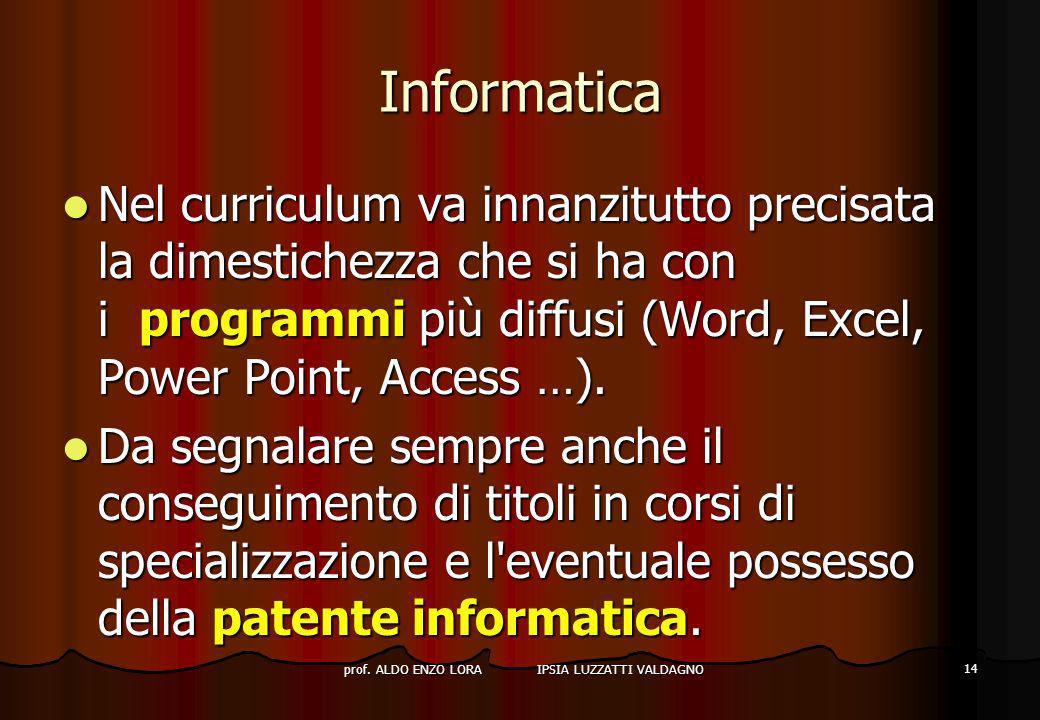 prof. ALDO ENZO LORA IPSIA LUZZATTI VALDAGNO 14 Informatica Nel curriculum va innanzitutto precisata la dimestichezza che si ha con i programmi più di