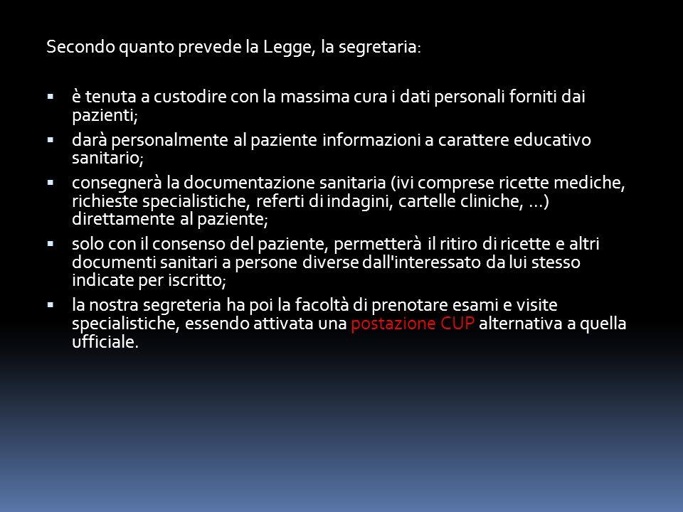 Secondo quanto prevede la Legge, la segretaria: è tenuta a custodire con la massima cura i dati personali forniti dai pazienti; darà personalmente al