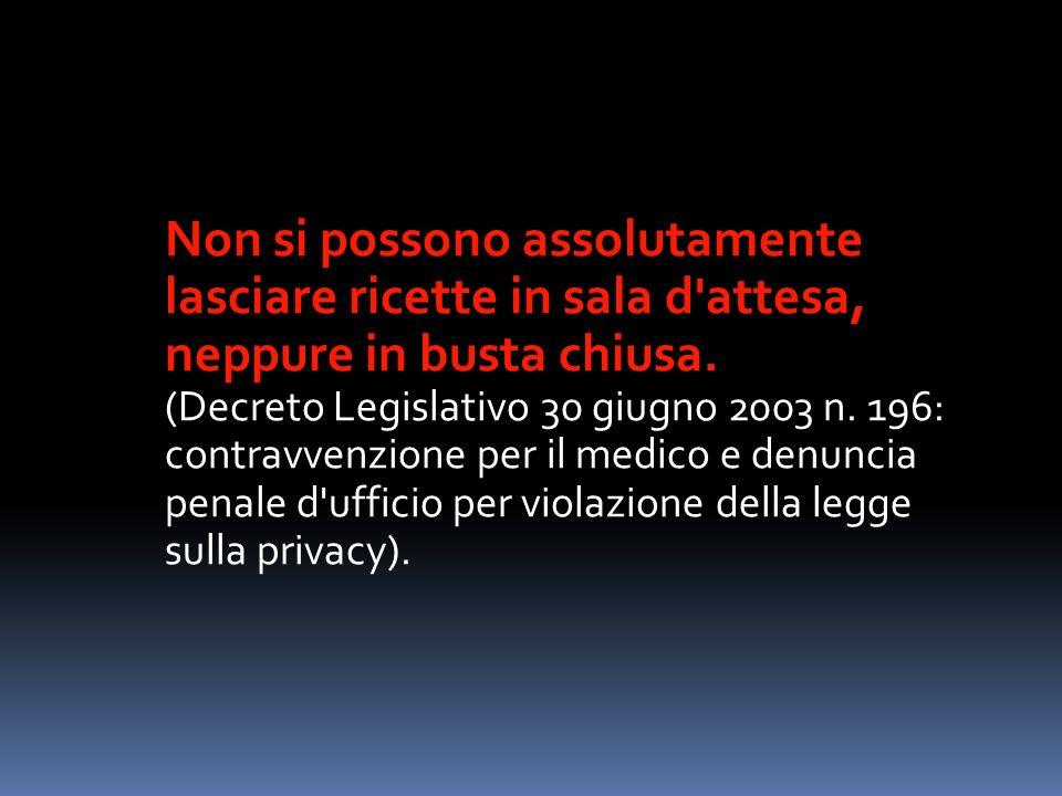 Non si possono assolutamente lasciare ricette in sala d'attesa, neppure in busta chiusa. (Decreto Legislativo 30 giugno 2003 n. 196: contravvenzione p