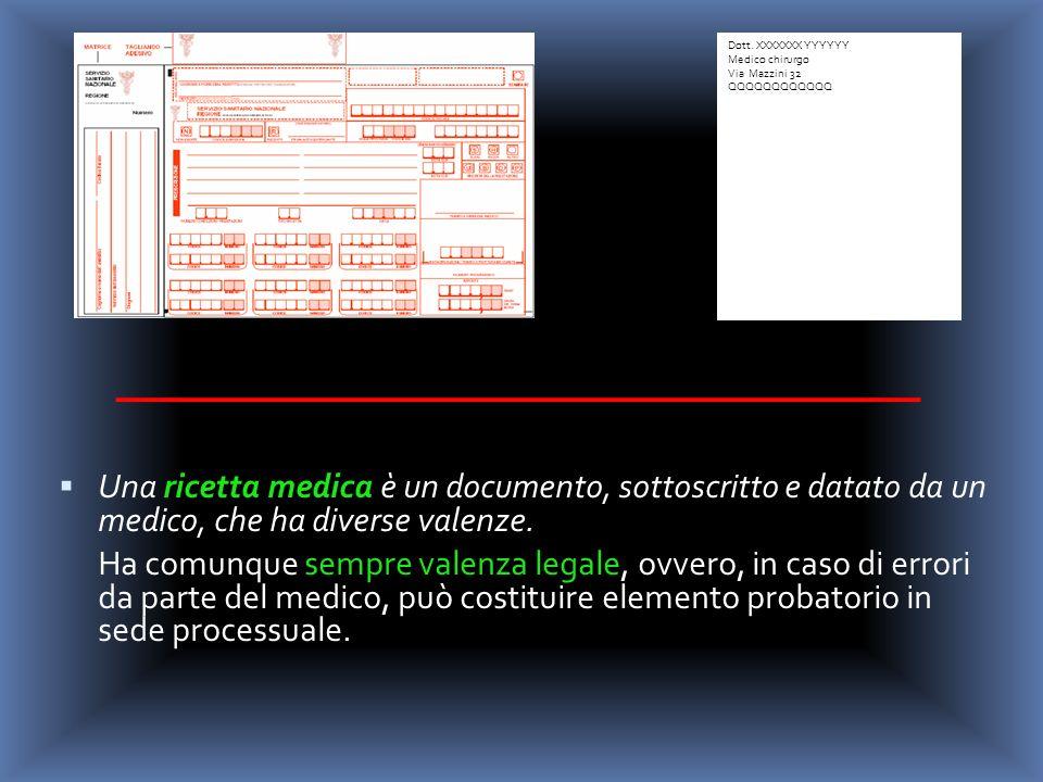 Una ricetta medica è un documento, sottoscritto e datato da un medico, che ha diverse valenze. Ha comunque sempre valenza legale, ovvero, in caso di e