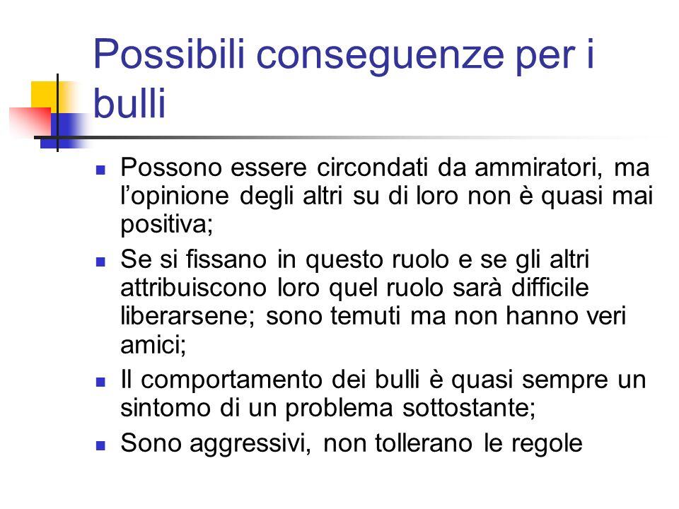 Possibili conseguenze per i bulli Possono essere circondati da ammiratori, ma lopinione degli altri su di loro non è quasi mai positiva; Se si fissano