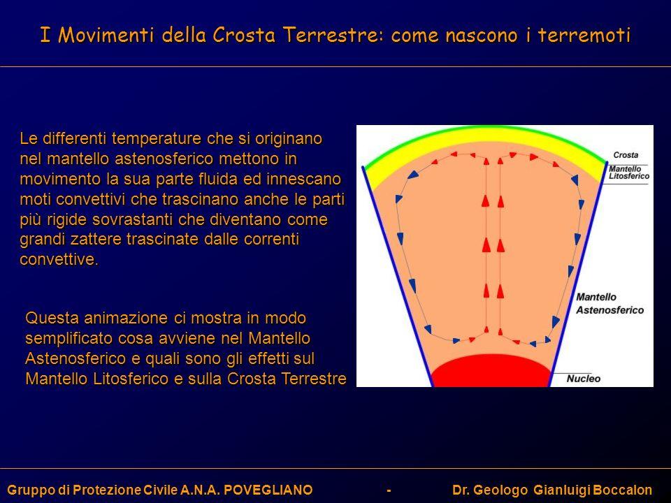 I Movimenti della Crosta Terrestre: come nascono i terremoti Gruppo di Protezione Civile A.N.A. POVEGLIANO - Dr. Geologo Gianluigi Boccalon Le differe