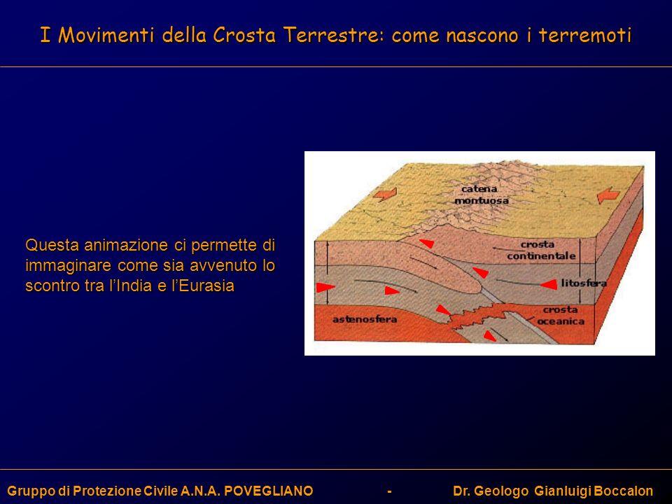 I Movimenti della Crosta Terrestre: come nascono i terremoti Gruppo di Protezione Civile A.N.A. POVEGLIANO - Dr. Geologo Gianluigi Boccalon Questa ani