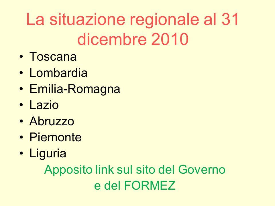 La situazione regionale al 31 dicembre 2010 Toscana Lombardia Emilia-Romagna Lazio Abruzzo Piemonte Liguria Apposito link sul sito del Governo e del FORMEZ