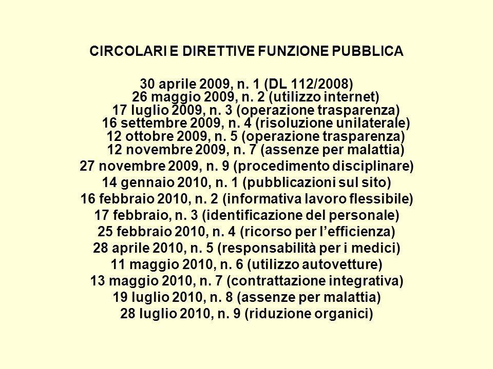 CIRCOLARI E DIRETTIVE FUNZIONE PUBBLICA 30 aprile 2009, n. 1 (DL 112/2008) 26 maggio 2009, n. 2 (utilizzo internet) 17 luglio 2009, n. 3 (operazione t