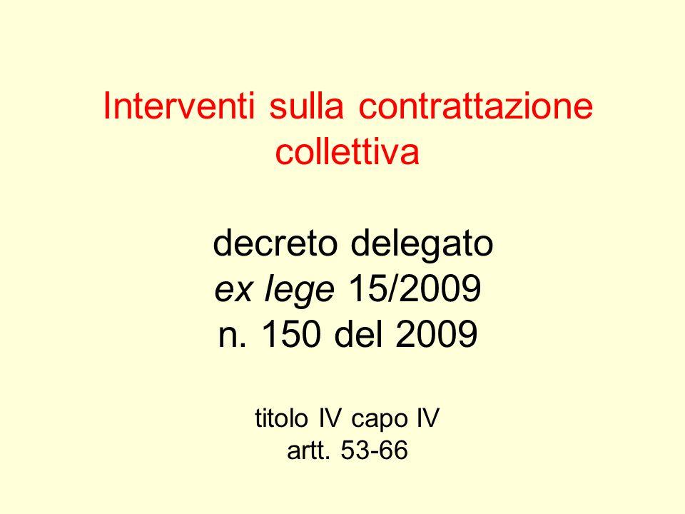 Interventi sulla contrattazione collettiva decreto delegato ex lege 15/2009 n. 150 del 2009 titolo IV capo IV artt. 53-66