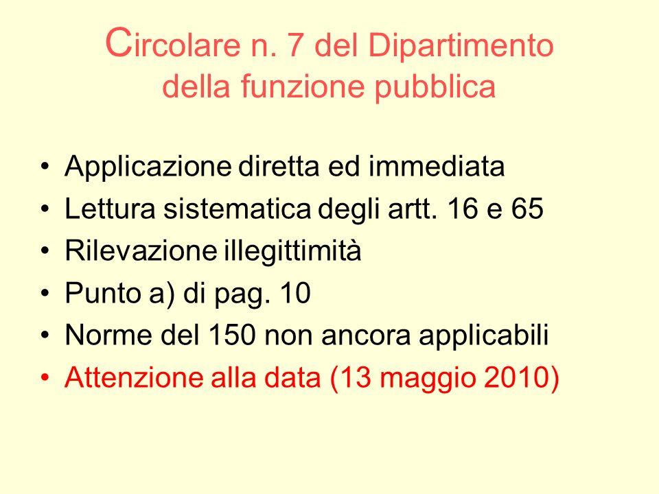 C ircolare n. 7 del Dipartimento della funzione pubblica Applicazione diretta ed immediata Lettura sistematica degli artt. 16 e 65 Rilevazione illegit