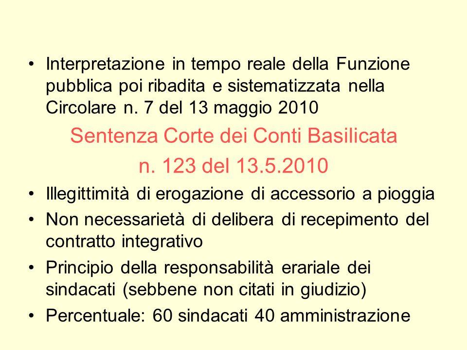 Interpretazione in tempo reale della Funzione pubblica poi ribadita e sistematizzata nella Circolare n. 7 del 13 maggio 2010 Sentenza Corte dei Conti