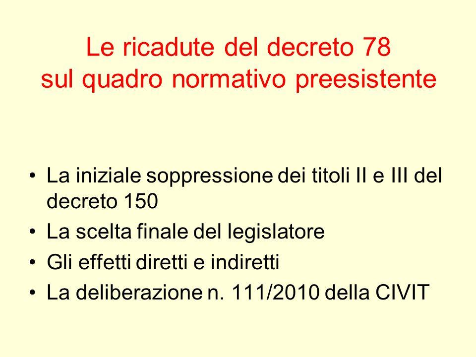 Le ricadute del decreto 78 sul quadro normativo preesistente La iniziale soppressione dei titoli II e III del decreto 150 La scelta finale del legisla