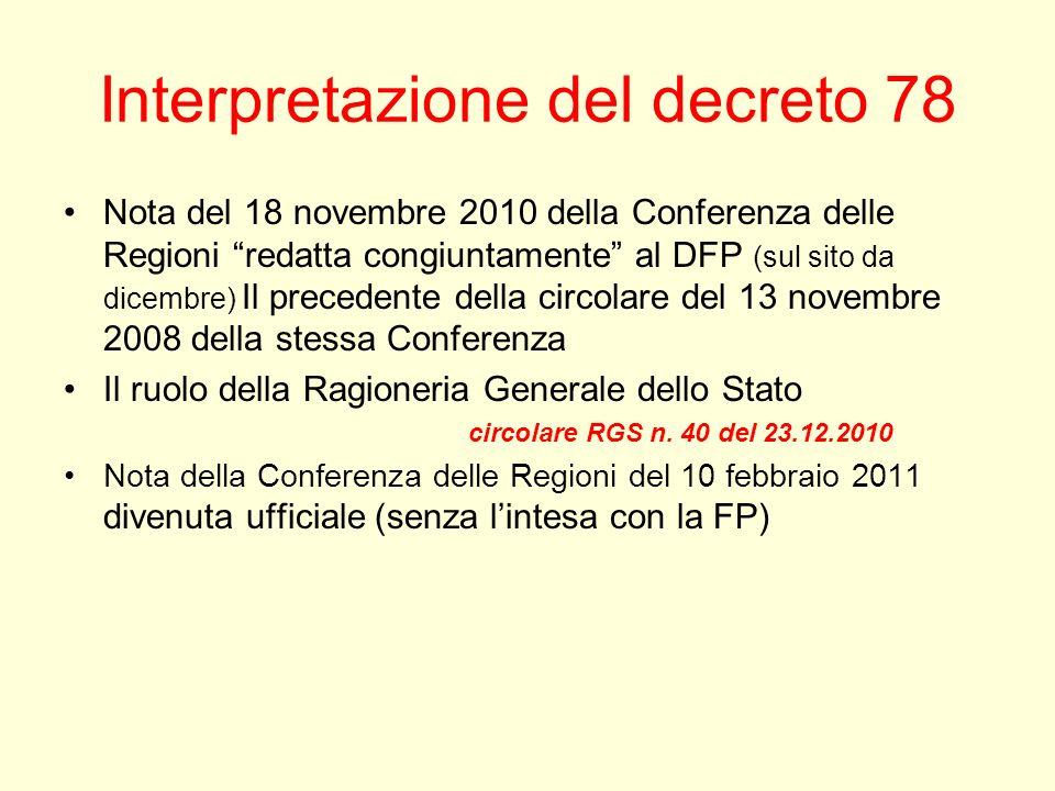 Interpretazione del decreto 78 Nota del 18 novembre 2010 della Conferenza delle Regioni redatta congiuntamente al DFP (sul sito da dicembre) Il precedente della circolare del 13 novembre 2008 della stessa Conferenza Il ruolo della Ragioneria Generale dello Stato circolare RGS n.
