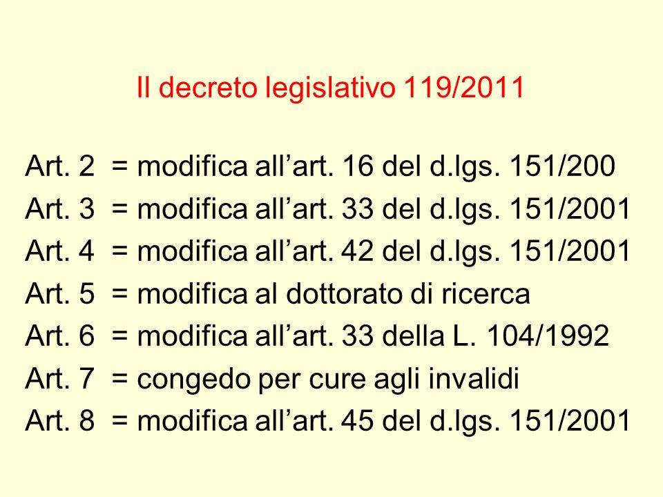 Il decreto legislativo 119/2011 Art. 2 = modifica allart. 16 del d.lgs. 151/200 Art. 3 = modifica allart. 33 del d.lgs. 151/2001 Art. 4 = modifica all