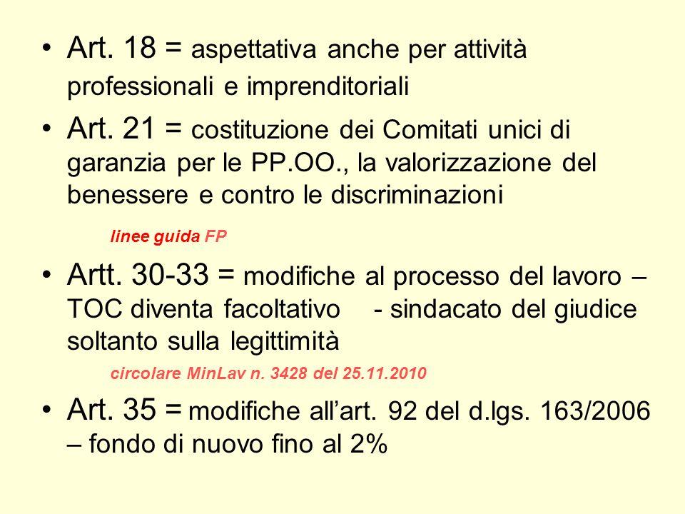 Art. 18 = aspettativa anche per attività professionali e imprenditoriali Art. 21 = costituzione dei Comitati unici di garanzia per le PP.OO., la valor