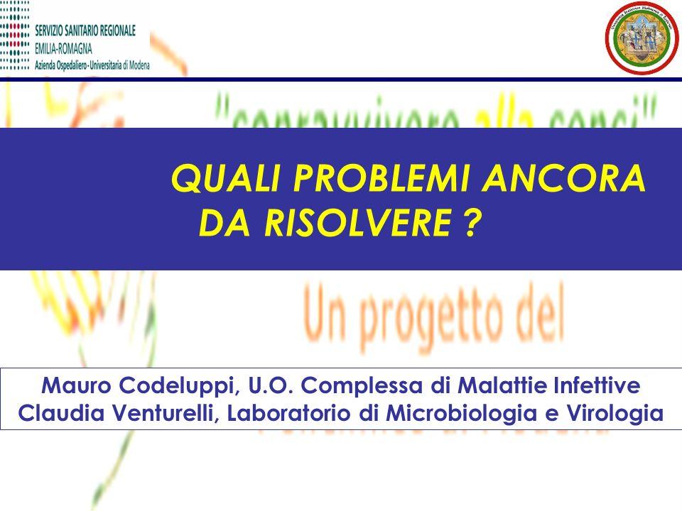 QUALI PROBLEMI ANCORA DA RISOLVERE ? Mauro Codeluppi, U.O. Complessa di Malattie Infettive Claudia Venturelli, Laboratorio di Microbiologia e Virologi
