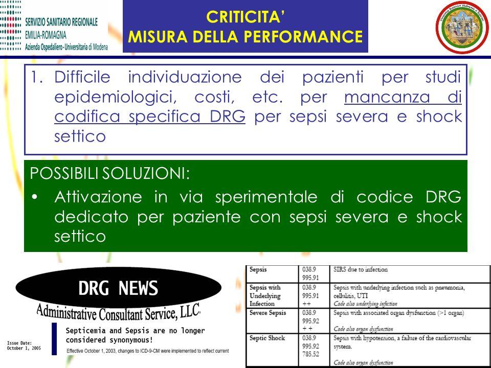 CRITICITA MISURA DELLA PERFORMANCE 1.Difficile individuazione dei pazienti per studi epidemiologici, costi, etc. per mancanza di codifica specifica DR
