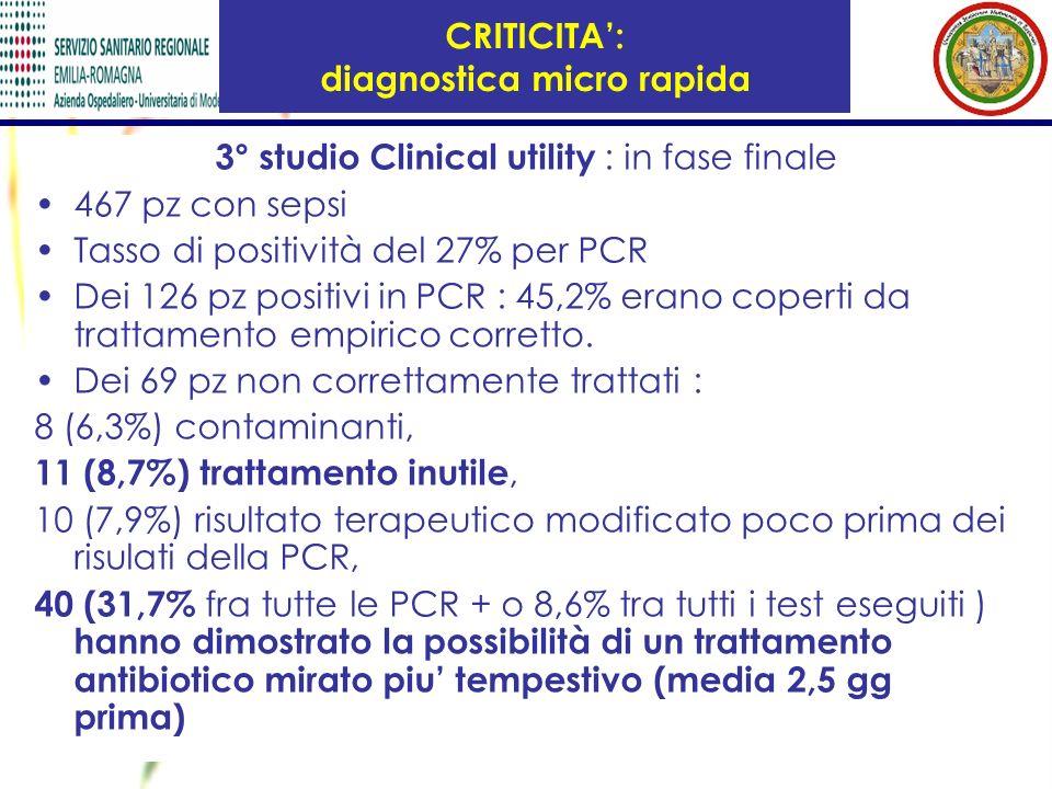 3° studio Clinical utility : in fase finale 467 pz con sepsi Tasso di positività del 27% per PCR Dei 126 pz positivi in PCR : 45,2% erano coperti da t