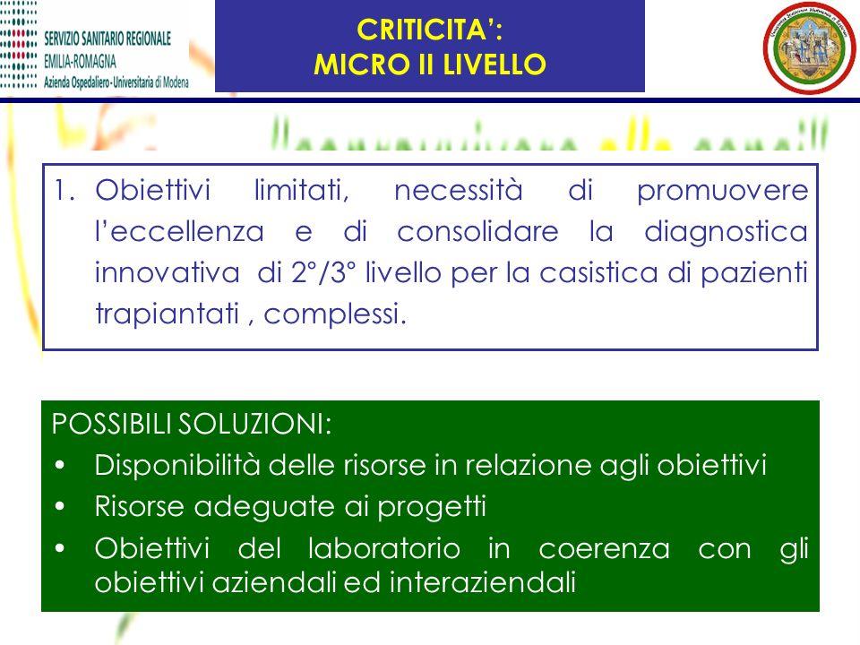1.Obiettivi limitati, necessità di promuovere leccellenza e di consolidare la diagnostica innovativa di 2°/3° livello per la casistica di pazienti tra