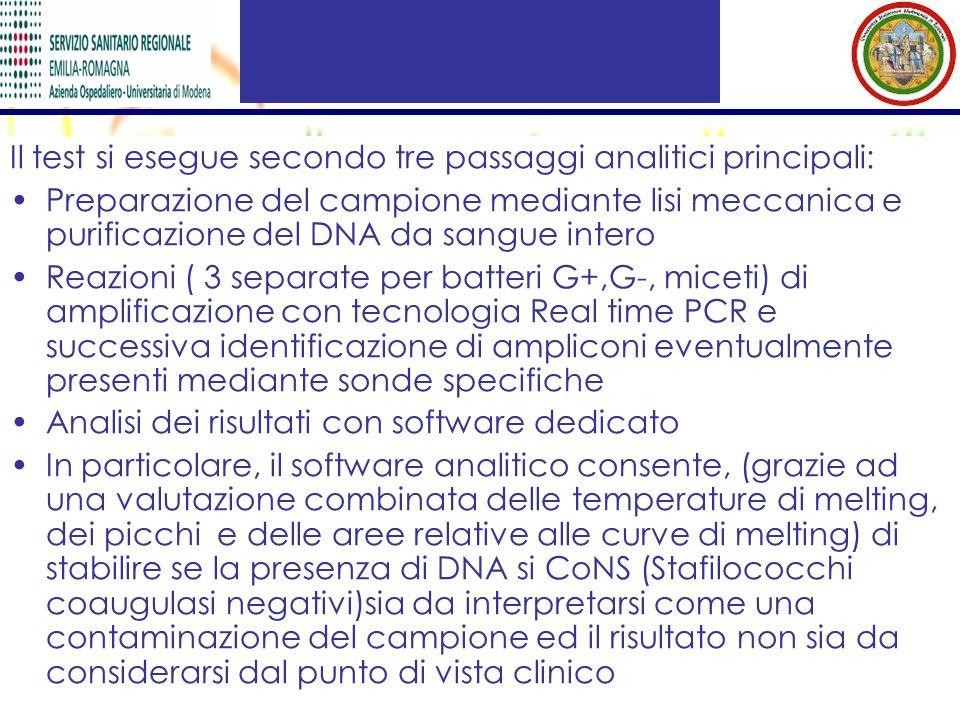 Il test si esegue secondo tre passaggi analitici principali: Preparazione del campione mediante lisi meccanica e purificazione del DNA da sangue inter