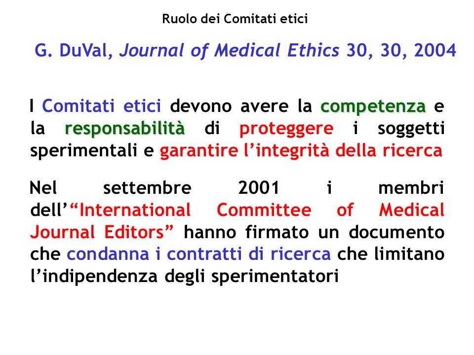 G. DuVal, Journal of Medical Ethics 30, 30, 2004 competenza responsabilità I Comitati etici devono avere la competenza e la responsabilità di protegge