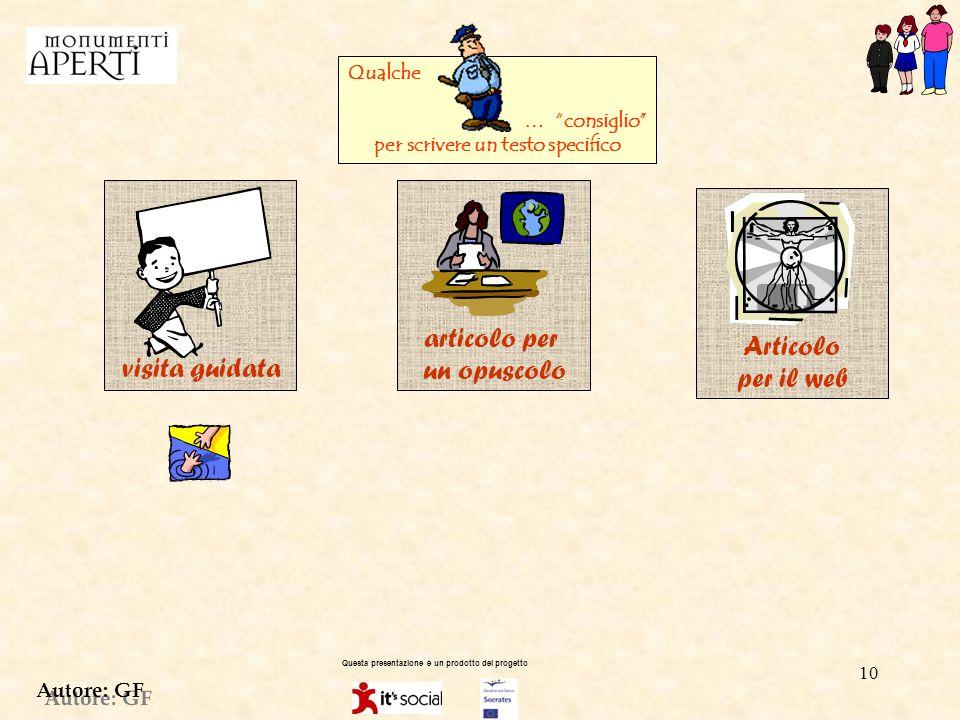 Autore: GF 9 Questa presentazione è un prodotto del progetto RIELABORAZIONE DELLE INFORMAZIONIACQUISITE SUL MONUMENTO 3 Predisponi tutte le informazioni a seconda del tipo di testo che ti piace di più, puoi scegliere di scrivere: - un testo sceneggiato, n testo per una brochure o per un opuscolo, n testo per il sito web Devi conoscere le tecniche base per la stesura del testo che hai scelto.