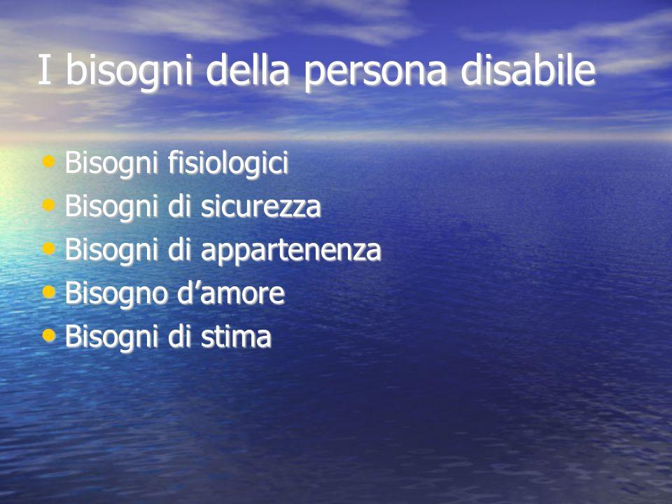 I bisogni della persona disabile Bisogni fisiologici Bisogni fisiologici Bisogni di sicurezza Bisogni di sicurezza Bisogni di appartenenza Bisogni di