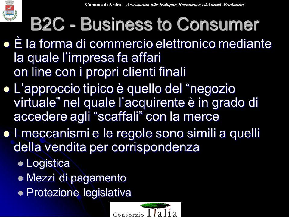 Comune di Ardea – Assessorato allo Sviluppo Economico ed Attività Produttive B2C - Business to Consumer È la forma di commercio elettronico mediante l