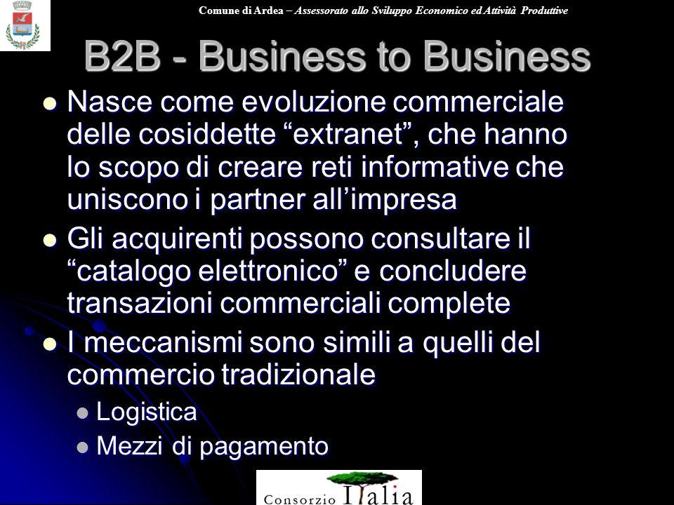 Comune di Ardea – Assessorato allo Sviluppo Economico ed Attività Produttive B2B - Business to Business Nasce come evoluzione commerciale delle cosidd