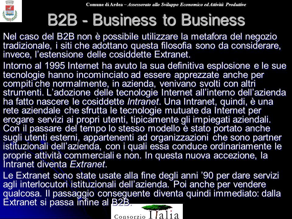 Comune di Ardea – Assessorato allo Sviluppo Economico ed Attività Produttive B2B - Business to Business Nel caso del B2B non è possibile utilizzare la