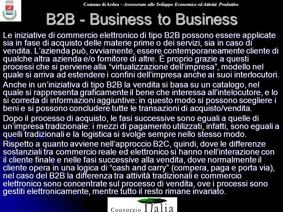 Comune di Ardea – Assessorato allo Sviluppo Economico ed Attività Produttive B2B - Business to Business Le iniziative di commercio elettronico di tipo