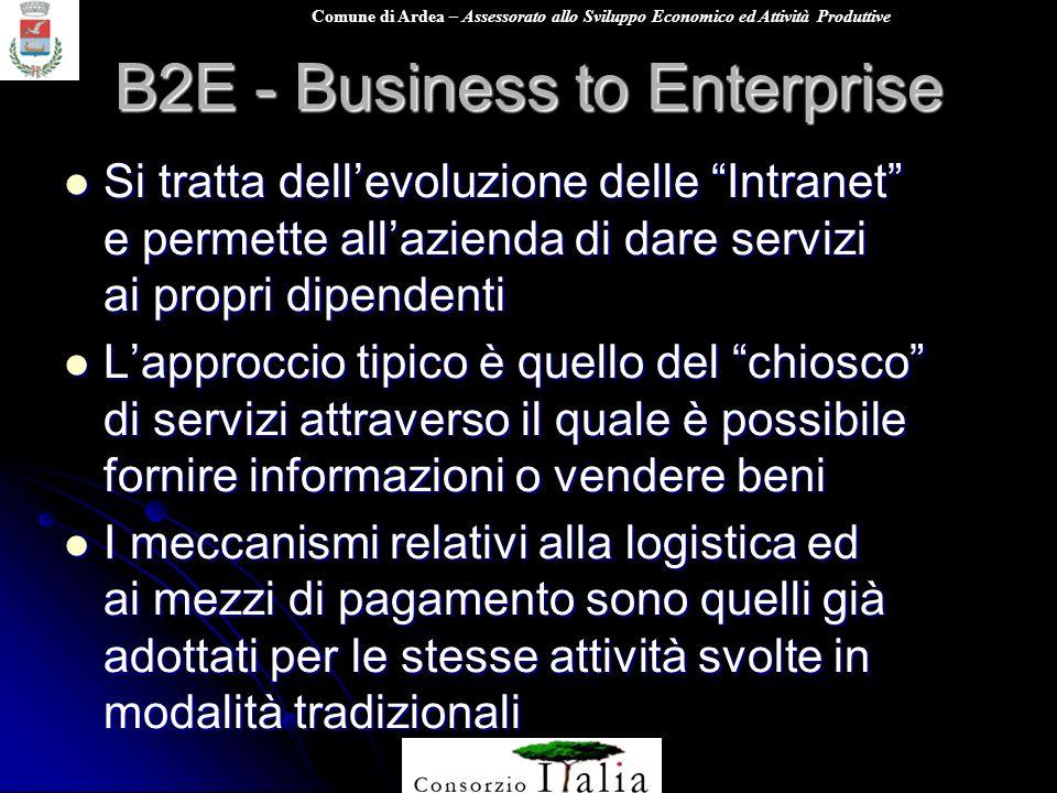 Comune di Ardea – Assessorato allo Sviluppo Economico ed Attività Produttive B2E - Business to Enterprise Si tratta dellevoluzione delle Intranet e pe