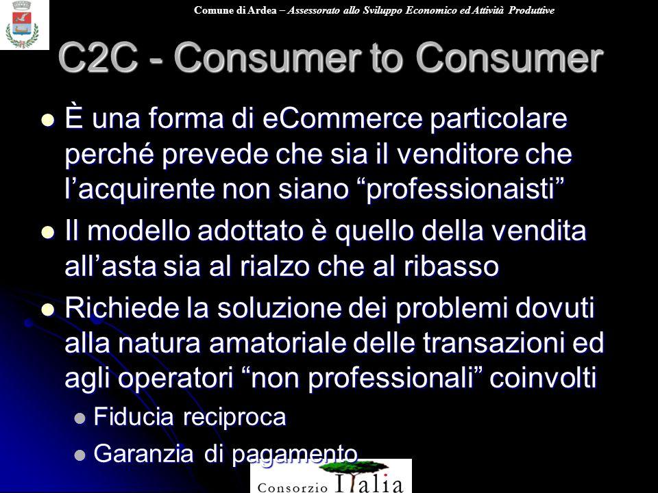 Comune di Ardea – Assessorato allo Sviluppo Economico ed Attività Produttive C2C - Consumer to Consumer È una forma di eCommerce particolare perché pr