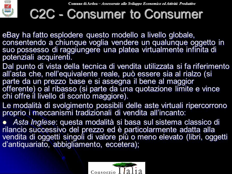 Comune di Ardea – Assessorato allo Sviluppo Economico ed Attività Produttive C2C - Consumer to Consumer eBay ha fatto esplodere questo modello a livel