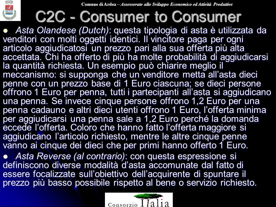 Comune di Ardea – Assessorato allo Sviluppo Economico ed Attività Produttive C2C - Consumer to Consumer Asta Olandese (Dutch): questa tipologia di ast
