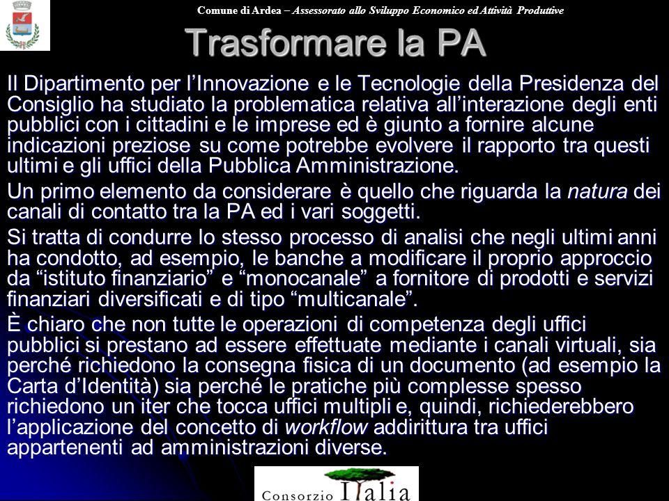 Comune di Ardea – Assessorato allo Sviluppo Economico ed Attività Produttive Trasformare la PA Il Dipartimento per lInnovazione e le Tecnologie della