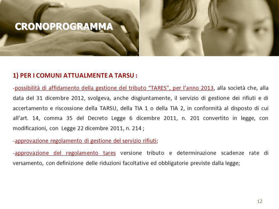 1) PER I COMUNI ATTUALMENTE A TARSU : -possibilità di affidamento della gestione del tributo TARES, per lanno 2013, alla società che, alla data del 31