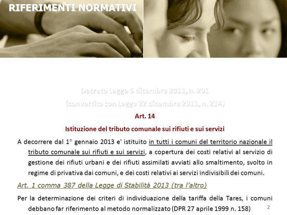 Decreto Legge 6 dicembre 2011, n. 201 (convertito con Legge 22 dicembre 2011, n. 214) Art. 14 Istituzione del tributo comunale sui rifiuti e sui servi