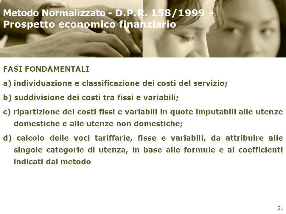 Metodo Normalizzato - D.P.R. 158/1999 – Prospetto economico finanziario FASI FONDAMENTALI a)individuazione e classificazione dei costi del servizio; b