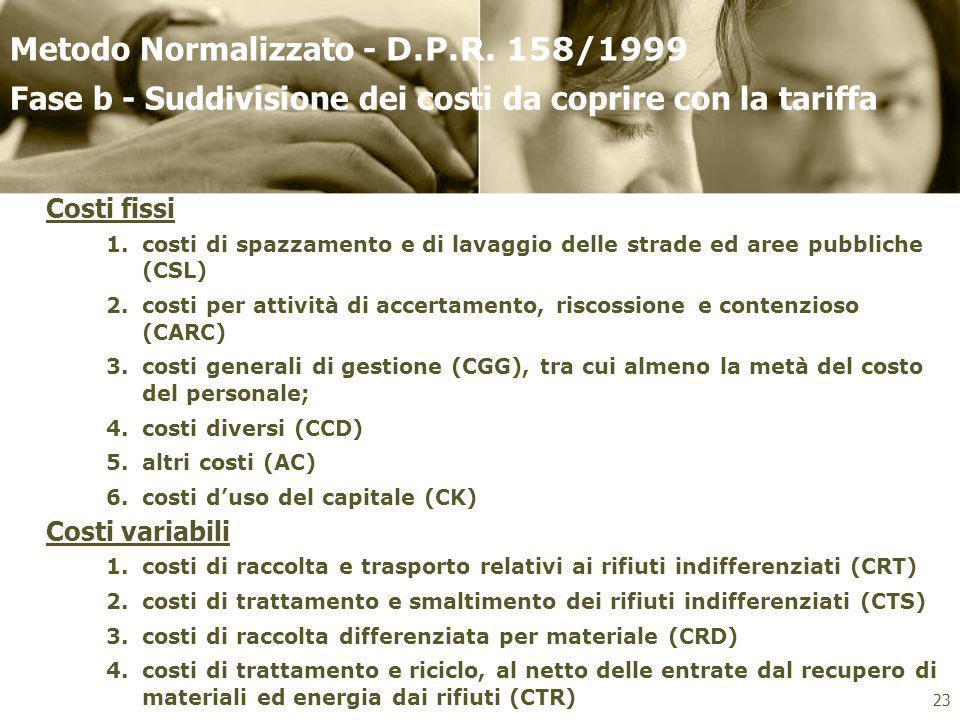Classificazione dei costi da coprire con la tariffa Fase b - Suddivisione dei costi da coprire con la tariffa 23 Costi fissi 1.costi di spazzamento e