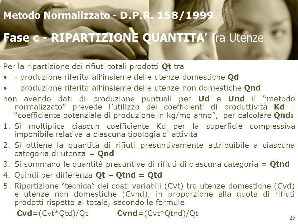 Per la ripartizione dei rifiuti totali prodotti Qt tra - produzione riferita allinsieme delle utenze domestiche Qd - produzione riferita allinsieme de