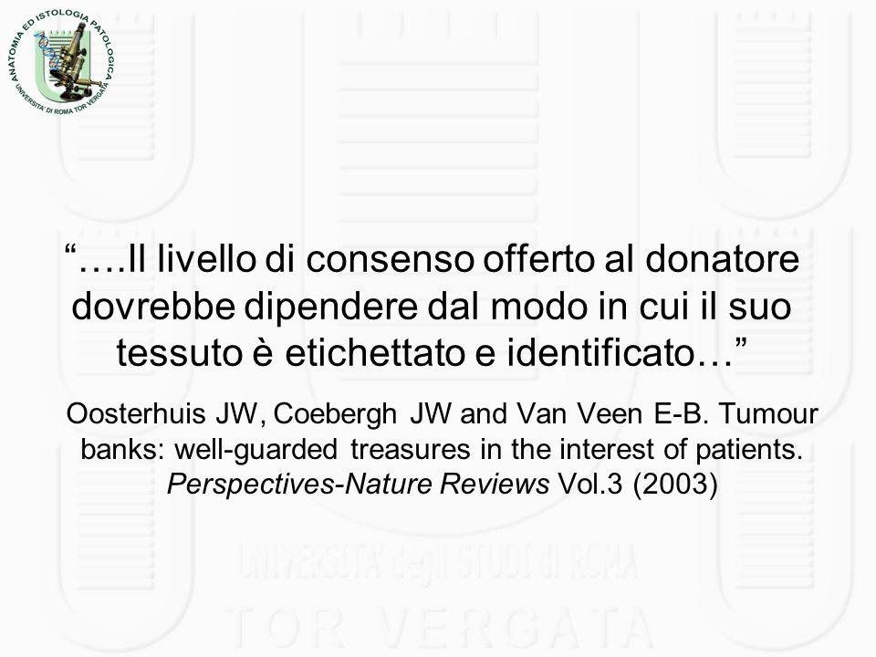 ….Il livello di consenso offerto al donatore dovrebbe dipendere dal modo in cui il suo tessuto è etichettato e identificato… Oosterhuis JW, Coebergh J