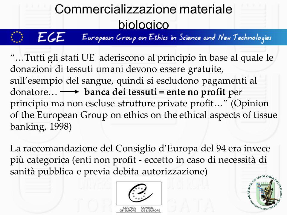 Commercializzazione materiale biologico …Tutti gli stati UE aderiscono al principio in base al quale le donazioni di tessuti umani devono essere gratu